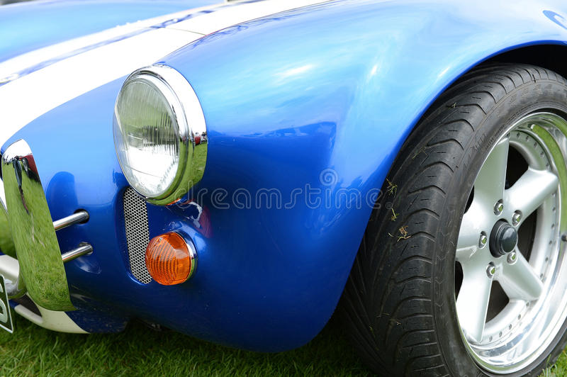 Blue sports car fender royalty free stock photo