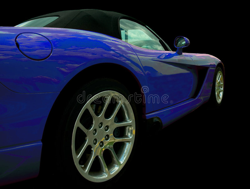 Blue Sports car Side View stock illustration