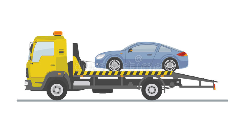 Blue sports car on tow truck, isolated on white background. stock illustration