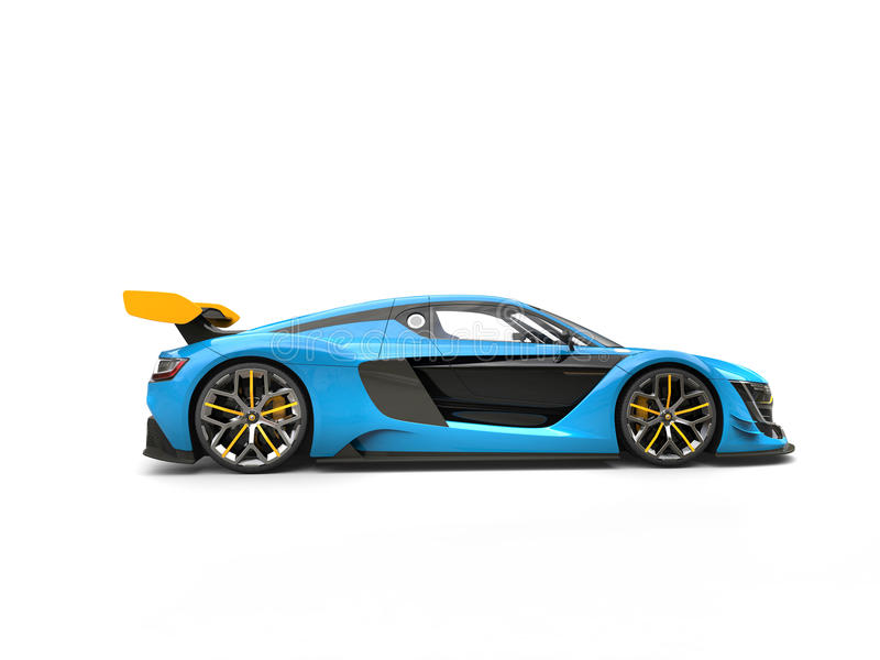 Blue sports car with yellow spoiler wing - side view royalty free illustration