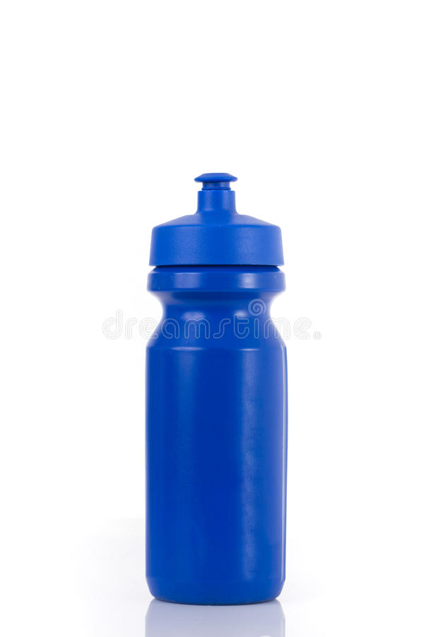 A blue sports drink water bottle isolated on a white background.  royalty free stock photo