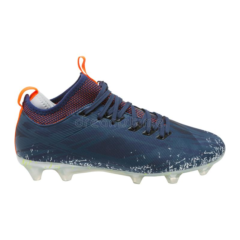 Blue sports soccer shoe with spikes, on a white background, sports shoes royalty free stock image