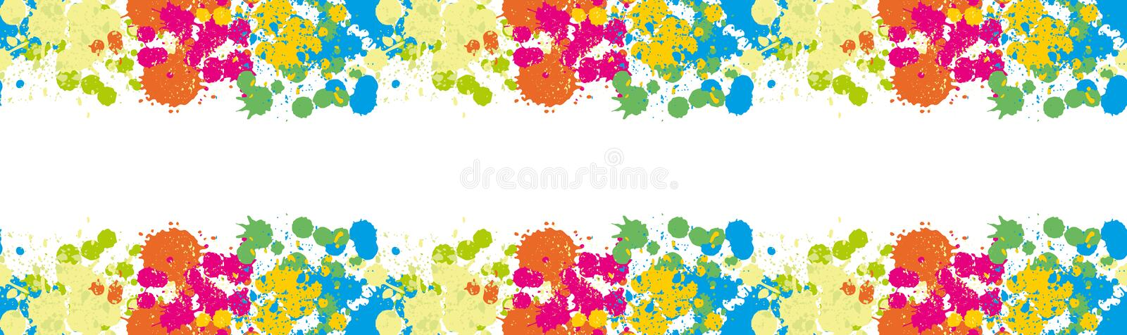 Blue Spot Green Stain Pink Smudge Orange Blot Yellow Smear Dab and blotch seamless wallpaper Blur Border Colored blots on the whit. E background vector illustration