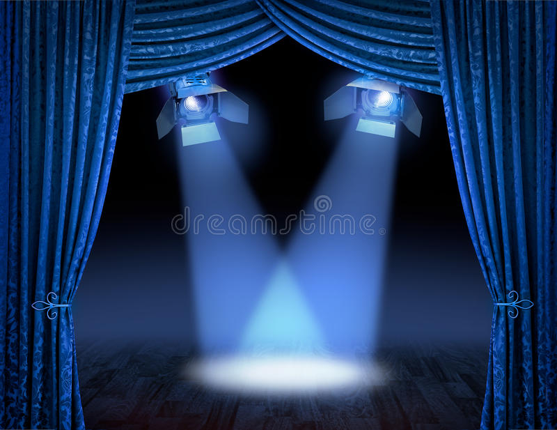 Blue Spotlight Beams Premiere Stock Photography