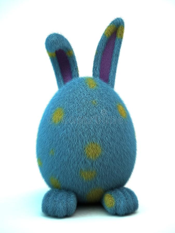 Blue Spotted Decorated Easter Egg Bunny