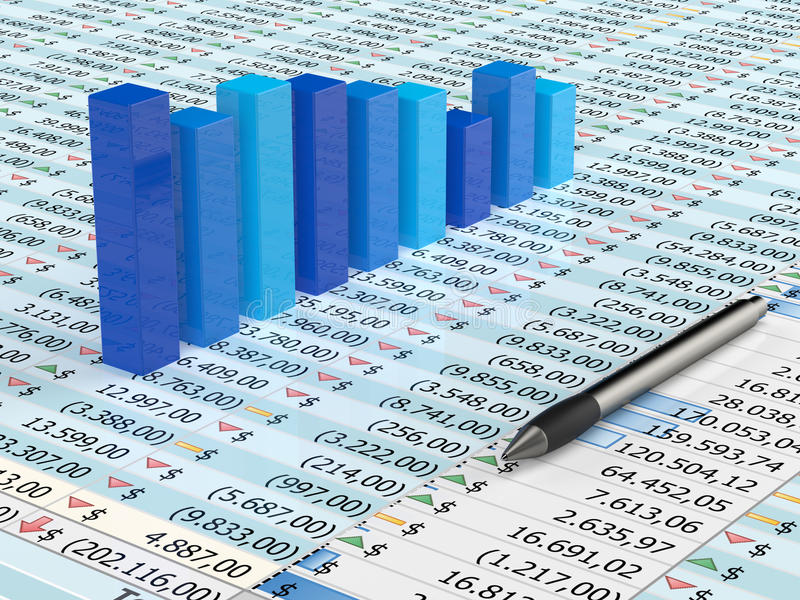 Blue Spreadsheet And Pen Stock Images
