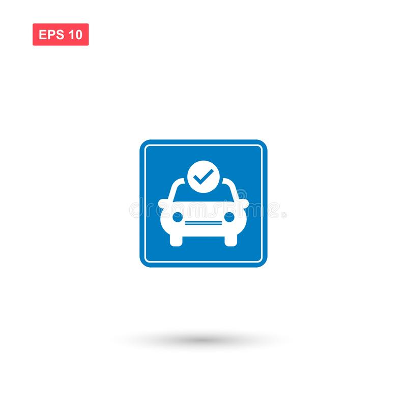 Blue square car checkup vector sign isolated vector illustration