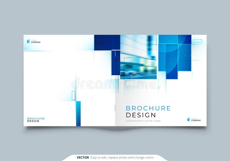 Blue Square Catalog Cover Template Layout Design. Corporate Business Horizontal Brochure, Annual Report, Catalog. Blue Square Brochure Cover Template Layout stock illustration