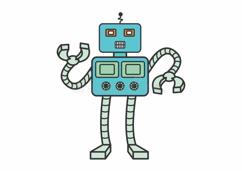 BLUE SQUARE ROBOT royalty free stock photo