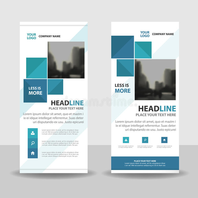 Blue square roll up business brochure flyer banner design , cover presentation abstract geometric background, modern publication royalty free illustration
