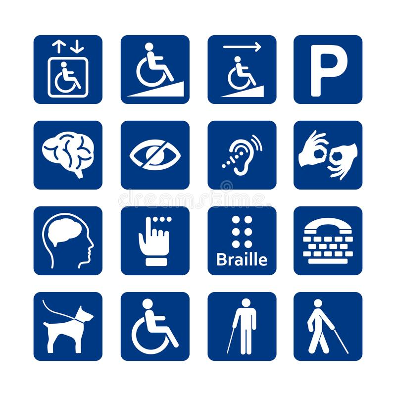 Blue square set of disability icons. Disabled icon set. stock illustration