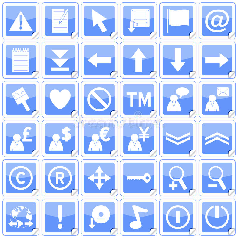 Blue Square Stickers Icons [2]