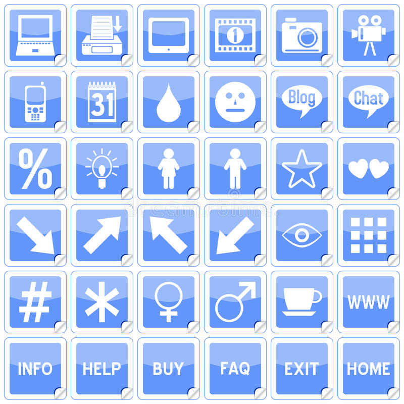 Blue Square Stickers Icons [4] vector illustration