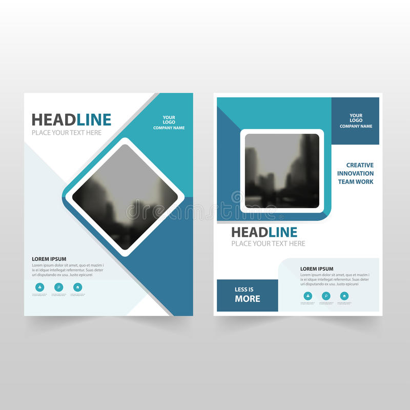 Blue Square Vector Annual Report Leaflet Brochure Flyer Template
