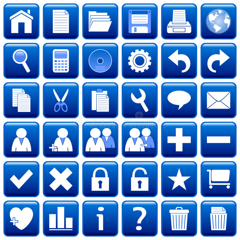 Free Blue Square Web Buttons [1] Royalty Free Stock Photos - 4853208