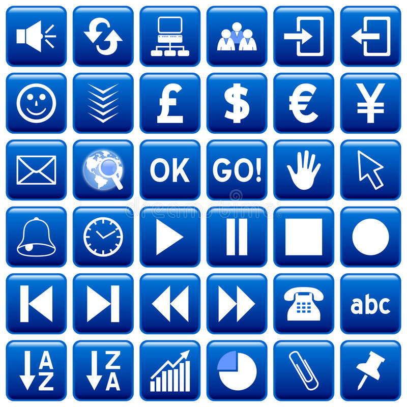 Download Blue Square Web Buttons [3] Stock Illustration - Image: 4867716