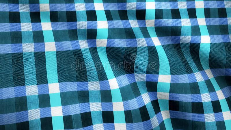 Blue Squares Fabric Cloth Material Texture Seamless Looped Background. Abstract blue cloth, jeans, animation. Loop. Blue Squares Fabric Cloth Material Texture royalty free stock photography