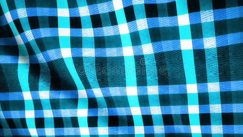 Blue Squares Fabric Cloth Material Texture Seamless Looped Background. Abstract blue cloth, jeans, animation. Loop. Blue Squares Fabric Cloth Material Texture royalty free stock photo