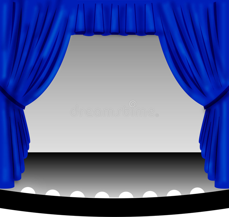 Blue Stage Curtain royalty free illustration