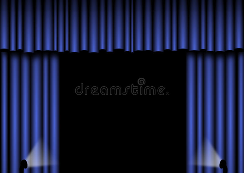 Download Blue Stage Curtains Royalty Free Stock Photos - Image: 12823788