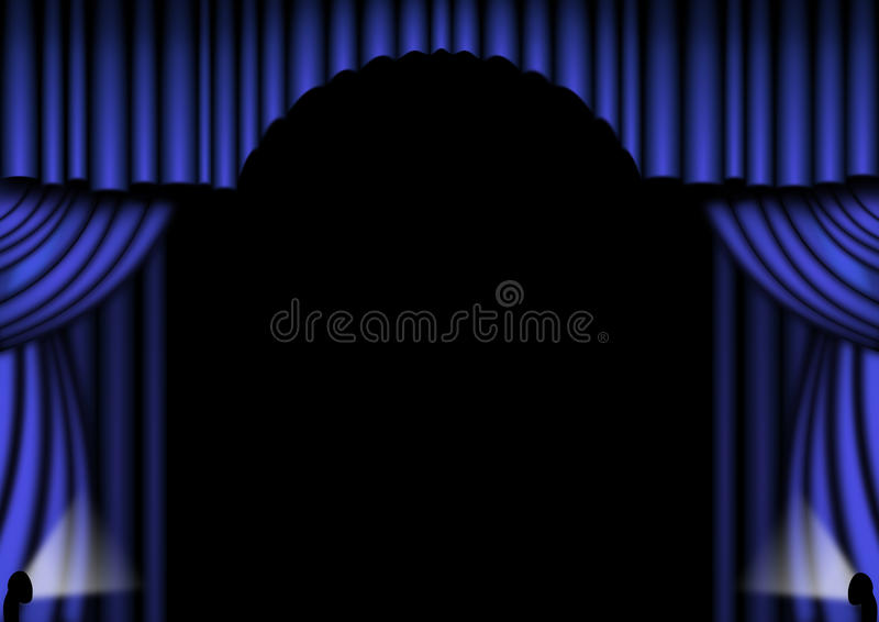 Download Blue Stage Curtains stock illustration. Illustration of backdrop - 12862000