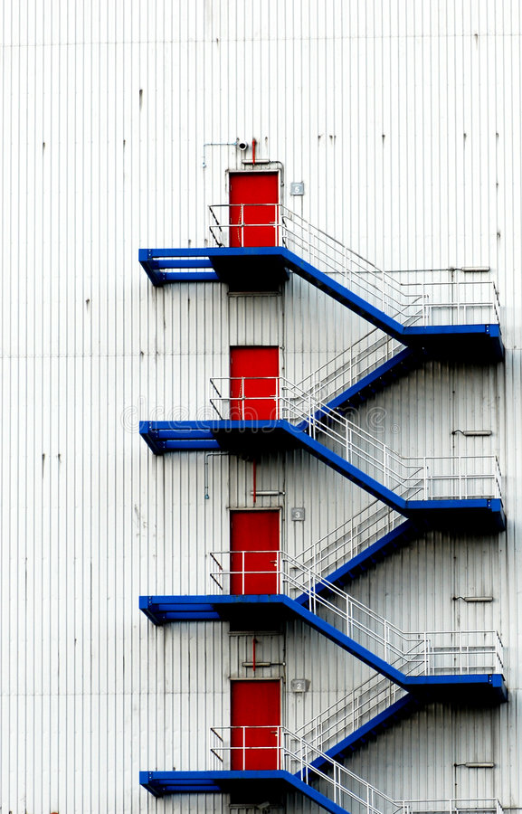 Free Blue Stairs Red Doors Royalty Free Stock Image - 3605296