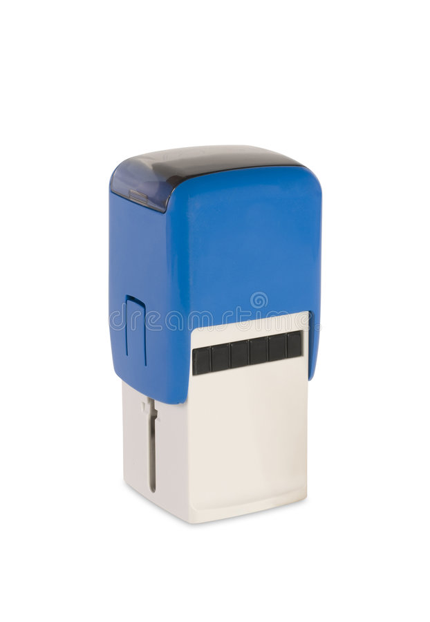 Blue stamp. Blue personal stamp isolated on white royalty free stock photography