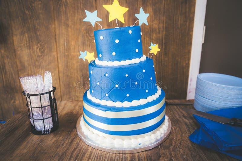Blue Star Birthday Cake. A blue birthday cake with stars stock photo