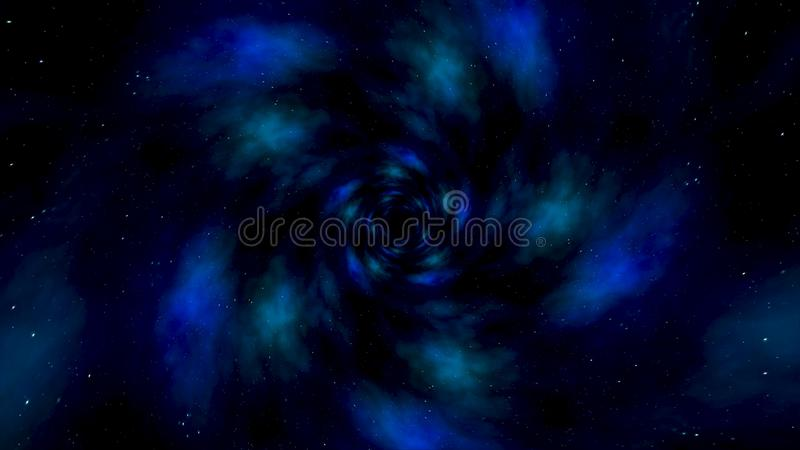 Blue star tunnel abstract motion background. Abstract animation of motion in the blue space tube.  stock photography