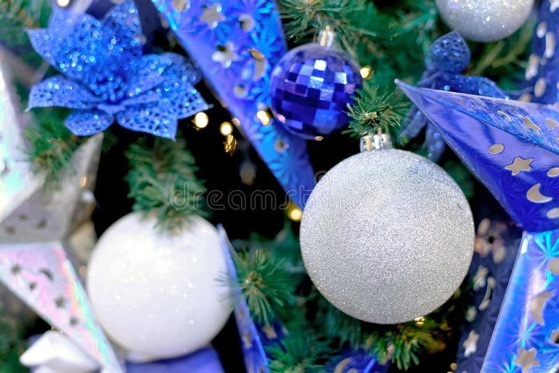 Blue stars, Christmas white balls, gift boxes royalty free stock images