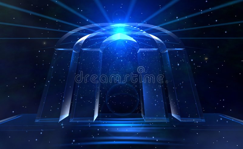 Blue stars gate. Mystic style imagination dark blue with satrs gate vector illustration