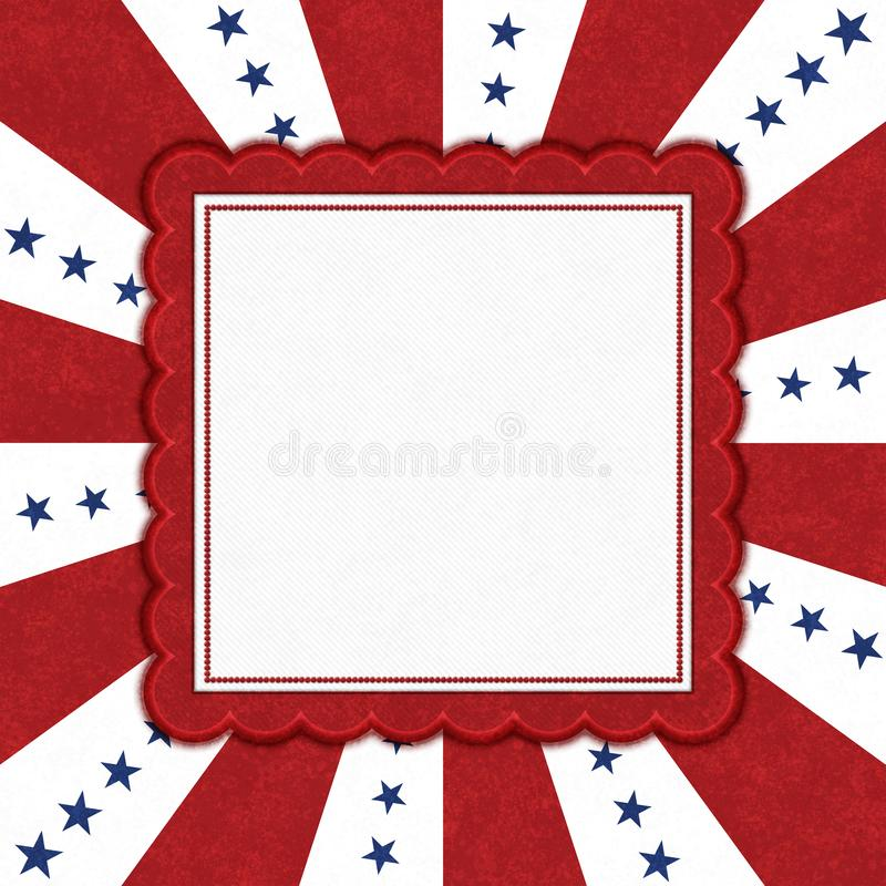 Blue stars with red and white burst lines border with copy space royalty free illustration