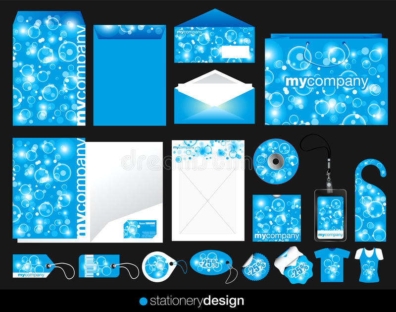 Download Blue stationery set design stock vector. Image of bubbles - 23098899