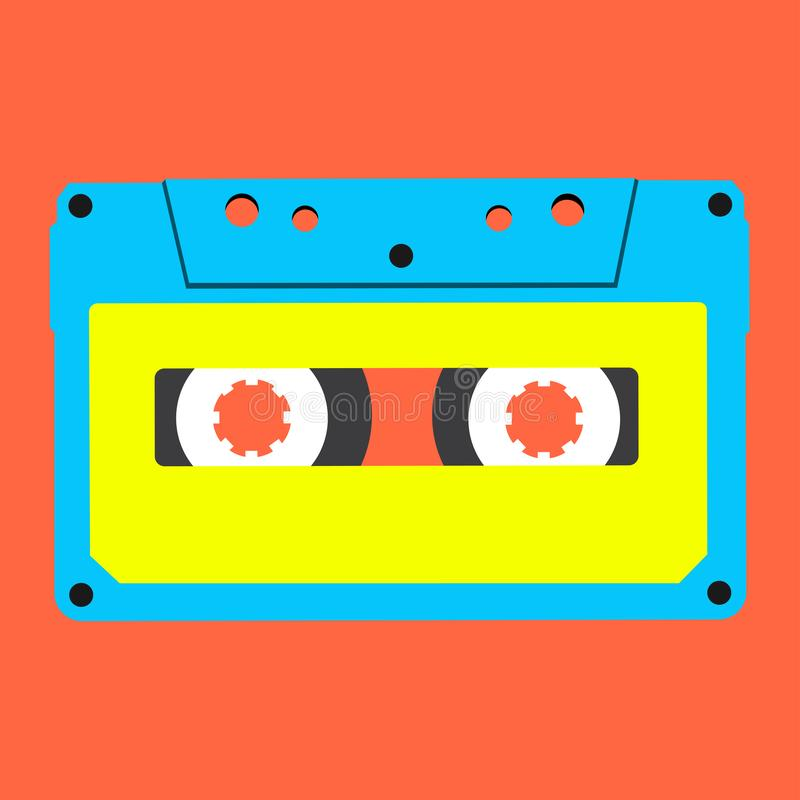 Blue stereo compact cassette on red background stock illustration