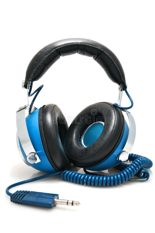 Blue Stereo Headphones. Blue headphones ready to be plugged into a stereo stock photos