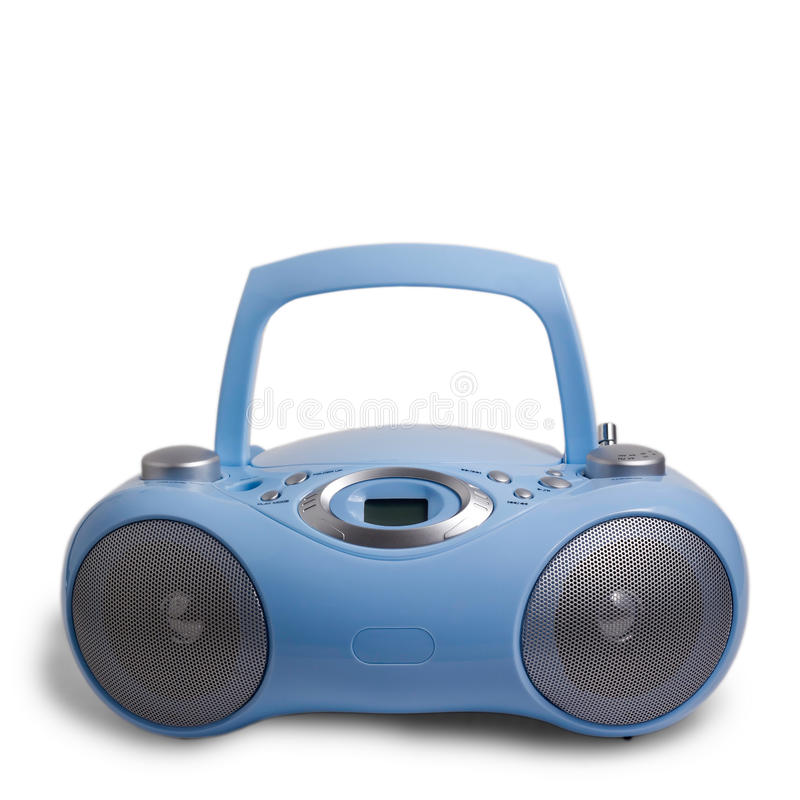Blue stereo mp3 radio cassette recorder isolated royalty free stock photos