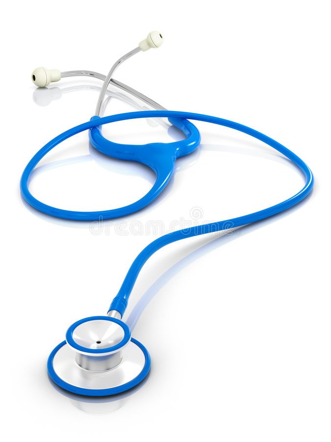 Blue stethoscope on clean isolated background. stock photography