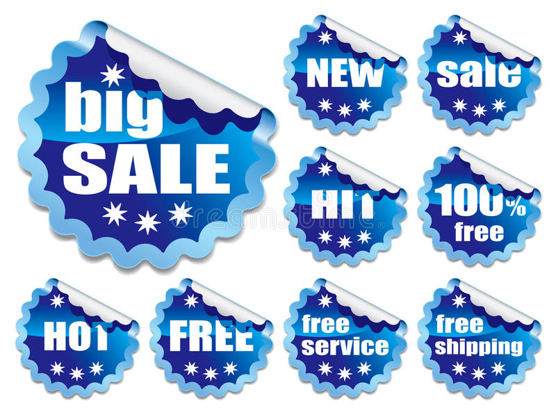 Download Blue stickers stock vector. Image of collection, note - 27122382