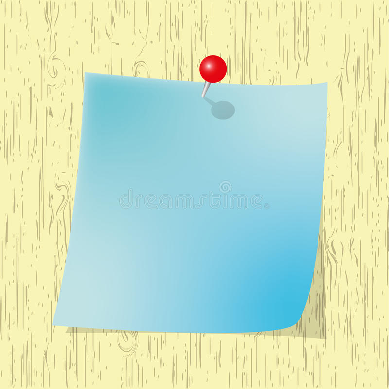 Download Blue Sticky  Note Pad With Red Pin Stock Illustration - Image: 22973663
