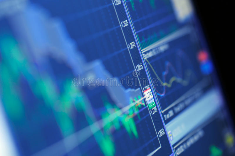 Blue Stock Chart Growth. A blue stock market graph on a high resolution LCD screen royalty free stock photo