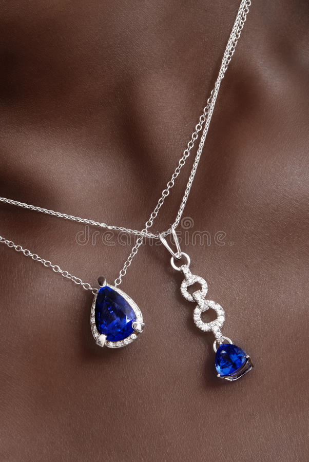 Blue Stones Necklaces royalty free stock photos