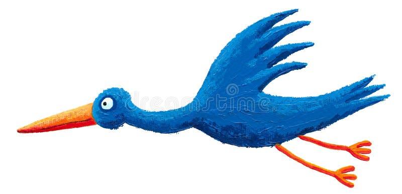 Download Blue stork fly stock illustration. Image of birth, animal - 19454552