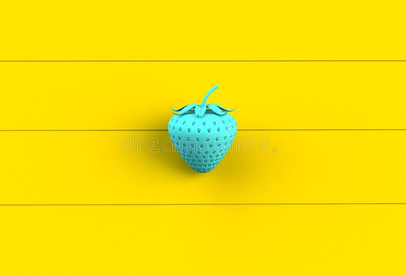 Blue strawberry on yellow wooden board. 3D rendering vector illustration