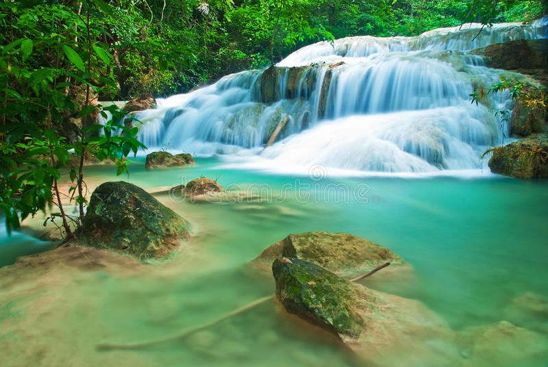 Download Blue stream waterfall stock photo. Image of paradise - 27750380