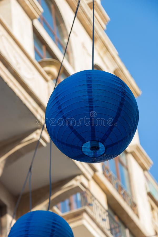 Blue Street Chineese Lantern In European City. Decorative Festival Element In The Square In Georgia. royalty free stock image