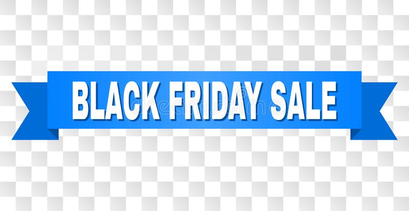 Blue Stripe with BLACK FRIDAY SALE Caption. BLACK FRIDAY SALE text on a ribbon. Designed with white caption and blue stripe. Vector banner with BLACK FRIDAY SALE stock illustration