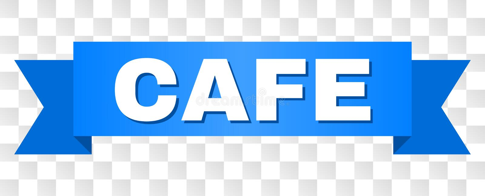 Blue Stripe with CAFE Text. CAFE text on a ribbon. Designed with white caption and blue tape. Vector banner with CAFE tag on a transparent background royalty free illustration