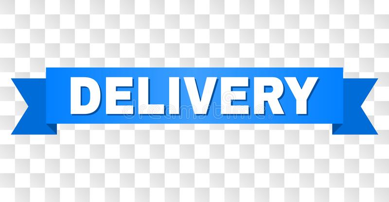 Blue Stripe with DELIVERY Caption. DELIVERY text on a ribbon. Designed with white caption and blue stripe. Vector banner with DELIVERY tag on a transparent vector illustration