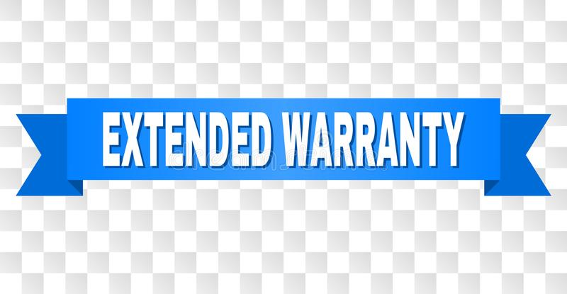 Blue Stripe with EXTENDED WARRANTY Caption. EXTENDED WARRANTY text on a ribbon. Designed with white caption and blue tape. Vector banner with EXTENDED WARRANTY vector illustration