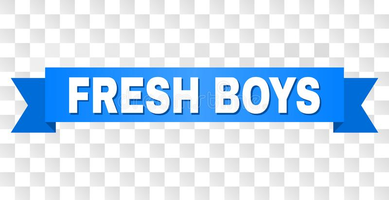 Blue Stripe with FRESH BOYS Caption. FRESH BOYS text on a ribbon. Designed with white caption and blue stripe. Vector banner with FRESH BOYS tag on a transparent vector illustration